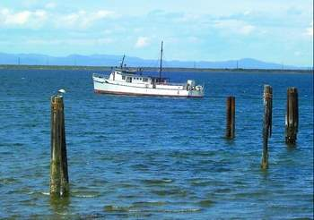 The Lady Goodiver, when she was temporarily moored in Port Angeles Harbor. -- Photo by David G. Sellars/for Peninsula Daily News